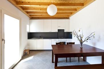 wooden kitchen table, rural home interior