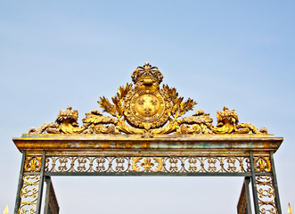 golden fence of Versailles palace near Paris, France