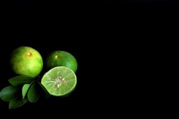 Lemon on black background