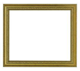 Horizontal old gold frame on white background