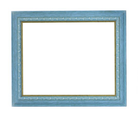 Horizontal blue color picture frame on white background