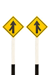 Merging lane from left and right road signpost