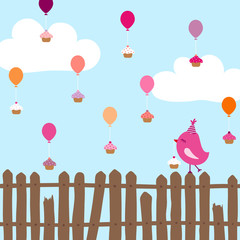 Pink Bird On Fence Flying Ballons With Cupcakes Blue