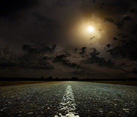 Poster Full moon sunset and road