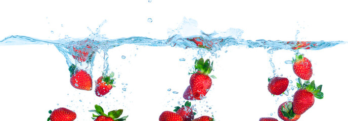 Collage Fresh Strawberry Dropped into Water with Splash