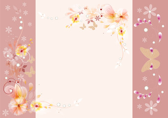 Gentle vector vintage background with floral ornament