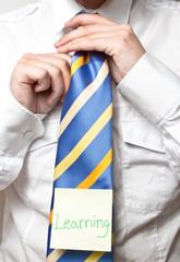 neck tie with post it