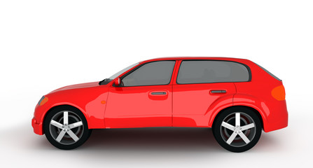 concept of the red crossover car isolated on a white