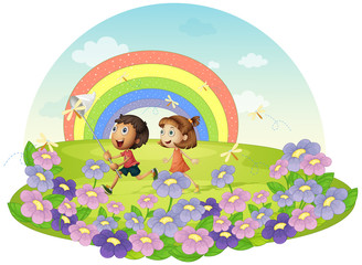 Door stickers Rainbow Kids in a field chasing insects