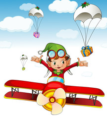 Printed roller blinds Airplanes, balloon Elf delivering gifts