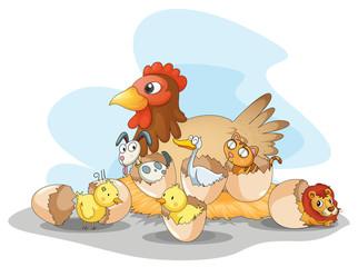 Hen and animals