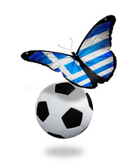Concept - butterfly with Greek flag flying near the ball, like f