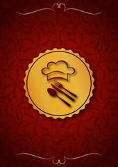 Kırmızı içinde aşçının logosu