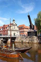 Alter Hafen und Kran in Lüneburg, Deutschland