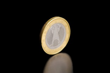 back of a german euro currency isolated