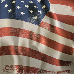 Waving vintage American flag textured background. With dry blood