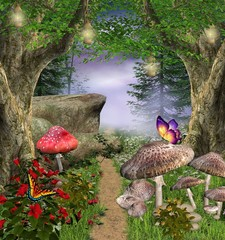 Fototapete - Enchanted nature series - enchanted pathway