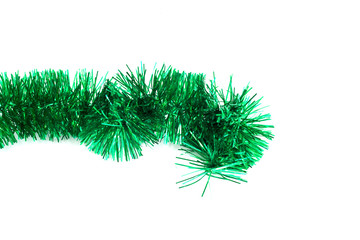 Green Christmas tinsel garland