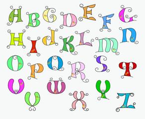 illustration of colorful funky alphabet