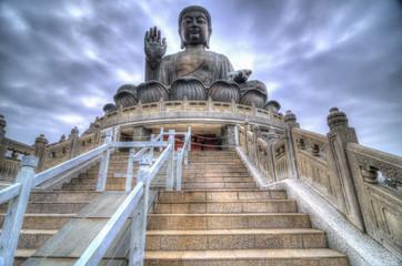 Türaufkleber Hongkong HDR Image of Tian Tan Buddha, Lantau Island, Hong Kong