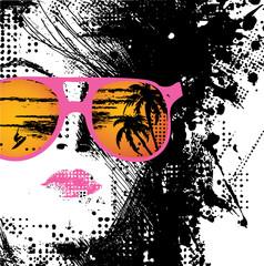 Poster Visage de femme Women in sunglasses