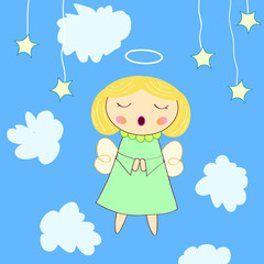 Photo sur Aluminium Ciel little angel greeting card