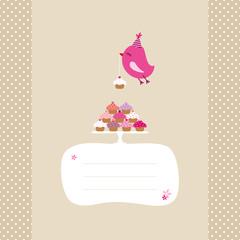 Flying Pink Bird 10 Cupcakes Speech Bubble Beige Dots
