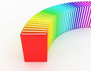 colored books on a white