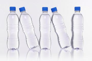 water bottles reflection