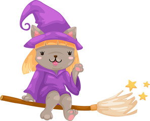 Halloween witch vector illustration on a white background