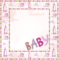 Cute scrapbook paper for girl with baby elements.