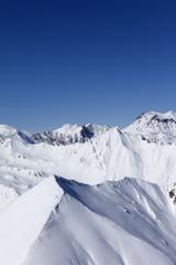 Winter mountains. Caucasus Mountains, Georgia, Gudauri.