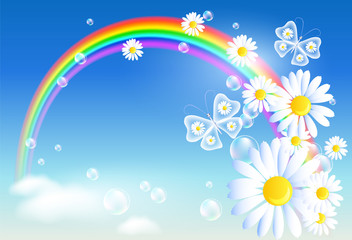 Rainbow and flowers