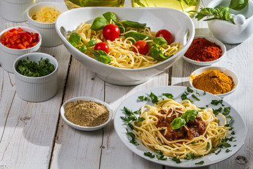 Vegetables, spices, spaghetti and ready-meal