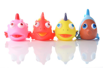 colorful rubber fish society - line of troops
