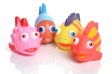 colorful rubber fish society - focus