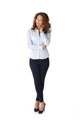 Full size portrait of pretty woman