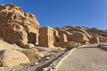 djinn blocks, the first monuments on the road to petra