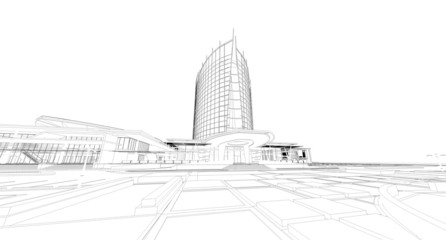 Abstract architectural wireframe