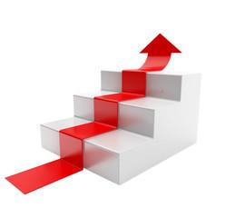 Pfeil auf Stufen > es geht aufwärts!