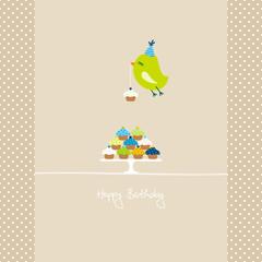 Flying Green Bird 10 Cupcakes Beige Dots