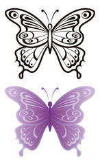 Butterflies, outline and lilac