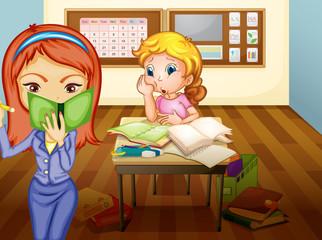 a girl and teacher in classroom