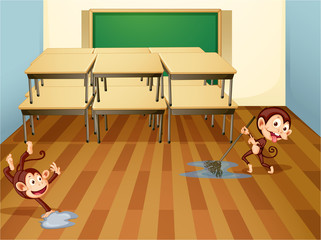 monkeys cleaning classroom