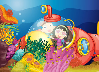 Poster Submarine kids in water