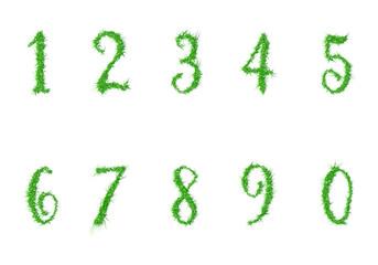 Numbers to ten, grass texture