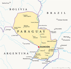 Paraguay political map with capital Asuncion, national borders, most important cities, rivers and lakes. Illustration with English labeling and scaling. Vector.