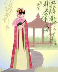 Poster Floral woman Chinese landscape with girl
