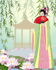 Recess Fitting Floral woman Chinese landscape with girl