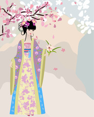 Foto op Plexiglas Bloemen vrouw cherry blossom and a girl in national costume